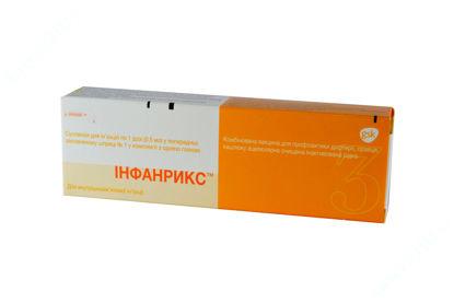 Зображення Інфанрикс (вакцина д/профілактики дифтерії, правця та кашлюка) сусп. д/ін. 1 доза шприц 0,5 мл, з голкою №1