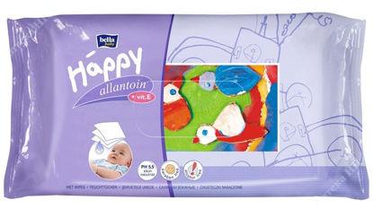 """Изображение Cерветки вологі """"HAPPY"""", збагачені вітаміном Е, призначені для догляду за шкірою немовлят та дітей. ( 64 шт. )"""