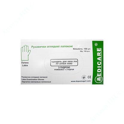 Изображение Перчатки смотровые латексный MEDICARE нестеильные, текстурированые, с пудрой размер L, №100