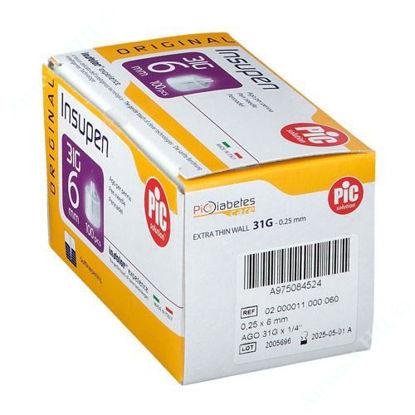 Изображение Стерильные иголки INSUPEN ORIGINAL для инсулиновых ручек 31G x 6 мм (0,25 x 6 мм) №100