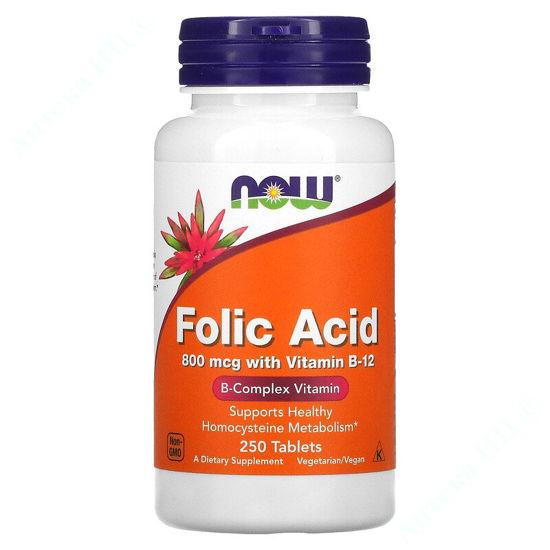 Изображение Фолиевая кислота и витамин В12 Now Foods таблетки 800 мкг №250