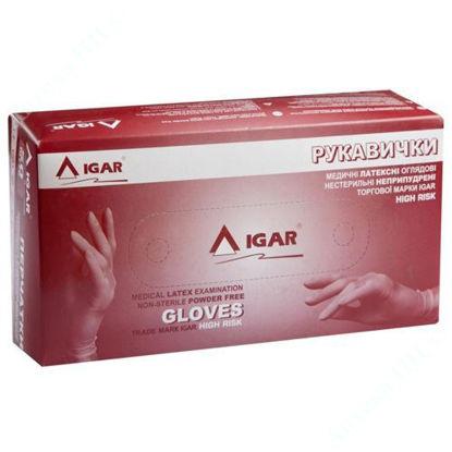 Изображение Перчатки медицинские латексные смотровые нестерильные неприпудренные IGAR, HIGH RISK размер M (7- 8) 1 пара