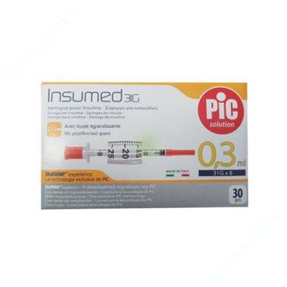 Изображение Стерильные инсулиновые шприцы INSUMED 0,3 мл с иглой 31Gх8 (0,25х 8 мл), U-100 №1