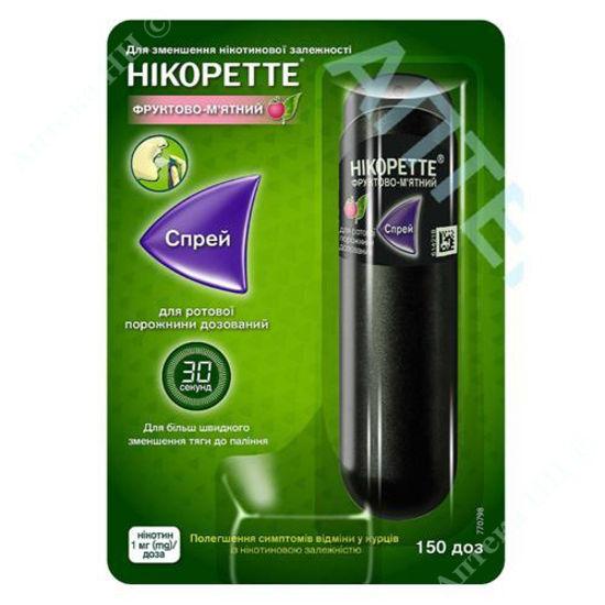 Изображение Никоретте фруктово-мятный спрей для полости рта 1 мг/доза 150 доз