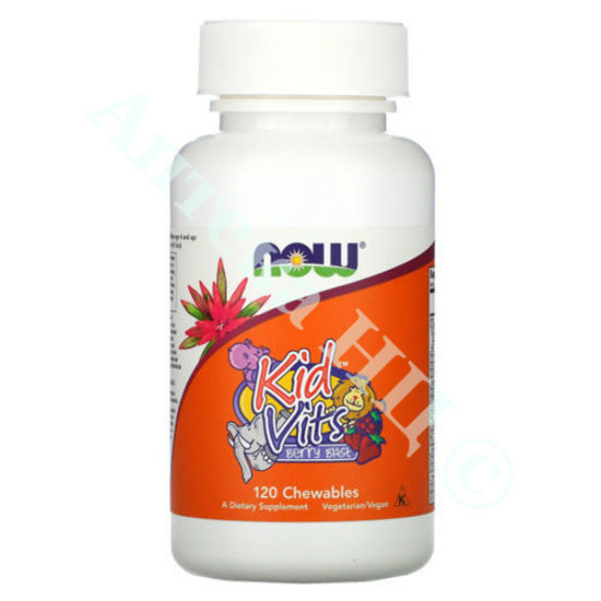 Изображение Витамины для детей (Kid Vits) Now Foods со вкусом ягод таблетки №120