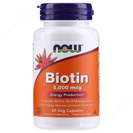 Изображение Биотин Now Foods капсулы 5000 мкг №60